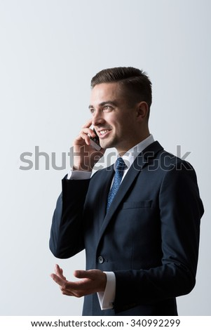 Picture of business man with mobile phone