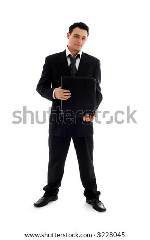 picture of businessman with folder over white background