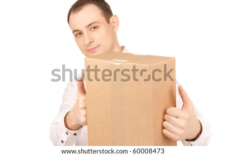 picture of businessman with parcel over white