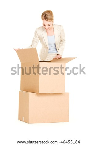 picture of businesswoman with boxes over white