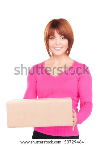 picture of businesswoman with parcel over white - stock photo
