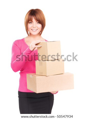 picture of businesswoman with parcels over white - stock photo