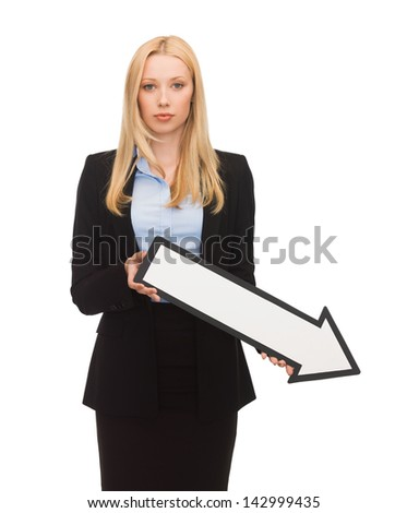 picture of businesswoman with white arrow pointing down