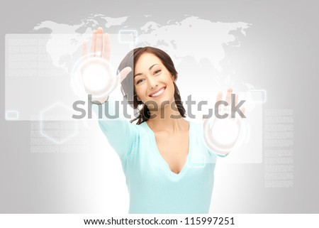 picture of businesswoman working with touch screen - stock photo