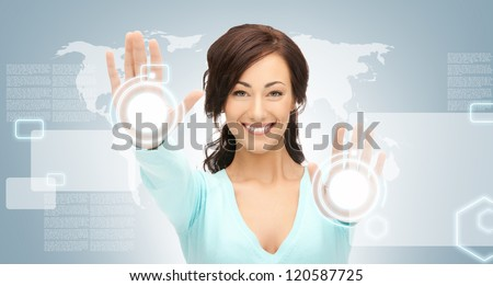 picture of businesswoman working with touch screen