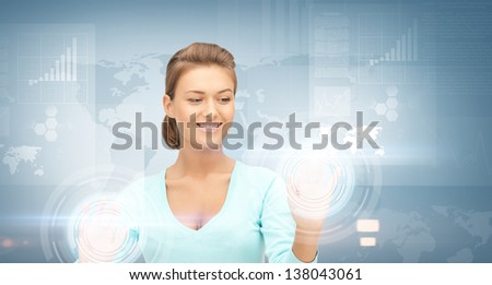 picture of businesswoman working with virtual screens