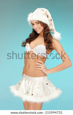 picture of cheerful santa helper girl in lingerie. - stock photo