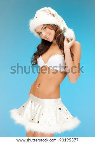 picture of cheerful santa helper girl in lingerie - stock photo