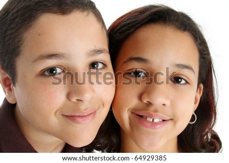 Picture of children set on white background