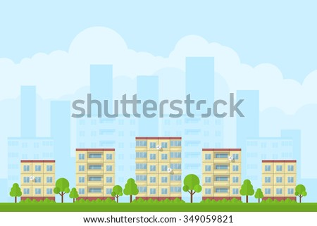 picture of city landscape with panel houses, flat style concept for product promotion and advertising - stock photo