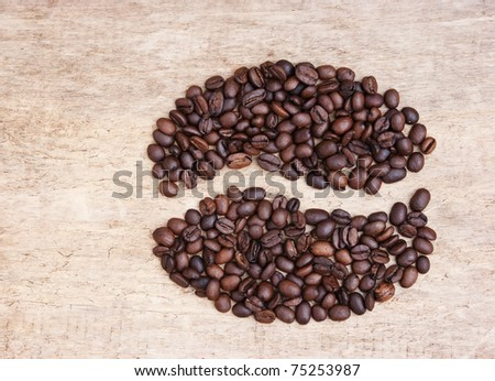 picture of coffee beans on a wooden background