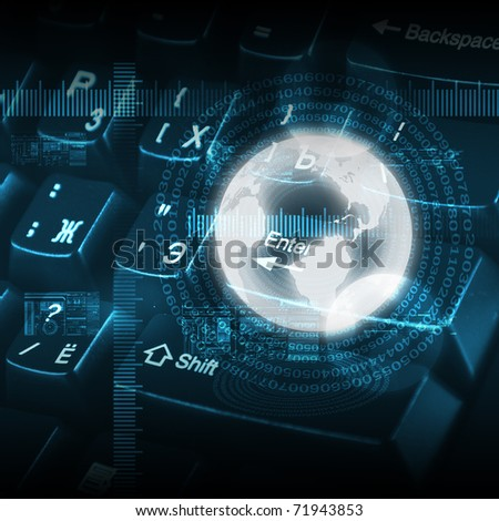 picture of computer keyboard as symbol of global network - stock photo