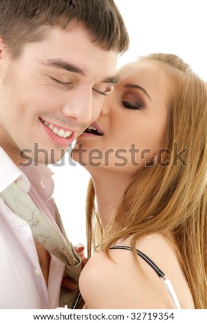 picture of couple in love over white (focus on girl)