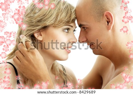 picture of couple in love with flowers