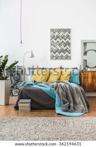 Picture of cozy bedroom in modern style - stock photo