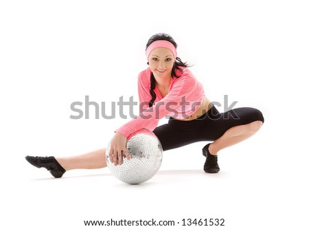 picture of dancer girl with glitterball over white - stock photo