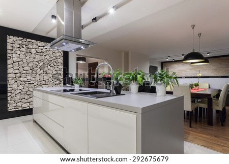 Picture of designed kitchen with stone wall - stock photo
