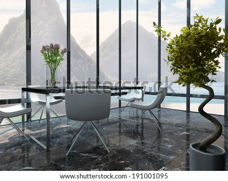 Picture of dining room interior with table setting - stock photo