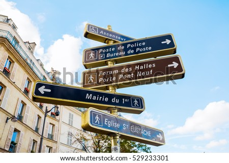 picture of direction signs in Paris, France