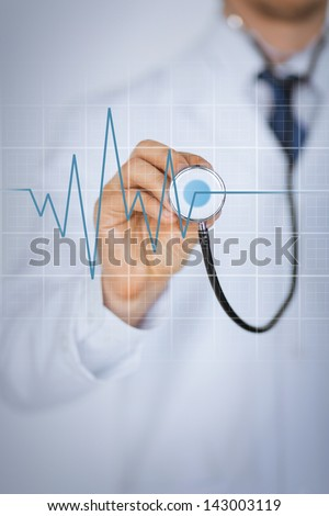 picture of doctor hand with stethoscope listening heart beat - stock photo