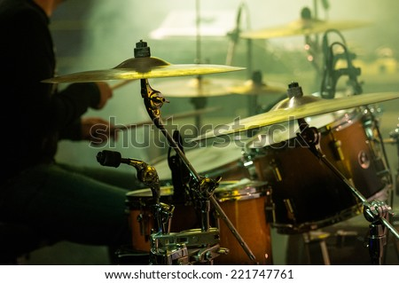 Picture of drums during a concert. - stock photo