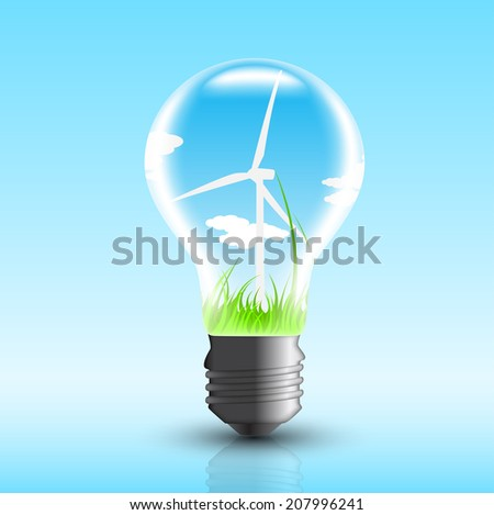 picture of electric bulb with windmill inside