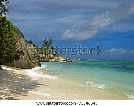 Picture of empty tropical beach at Source d'Argent, La Digue island, Seychelles