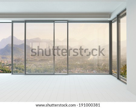 Picture of empty white room interior with huge window - stock photo