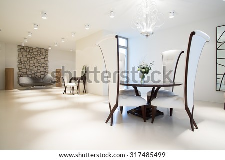 Picture of exclusive interior with modern furniture - stock photo