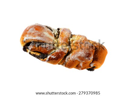Picture of fresh buns with poppy seeds and icing. Isolated on white background - stock photo