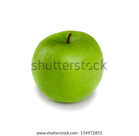 Picture of fresh green apple isolated on white background