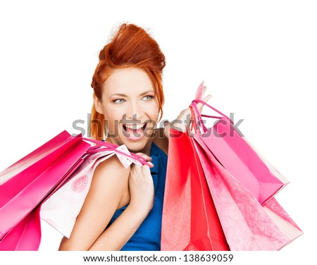 picture of funny woman with shopping bags . - stock photo