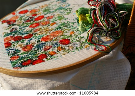 picture of generic flowers (cross stitch) - stock photo