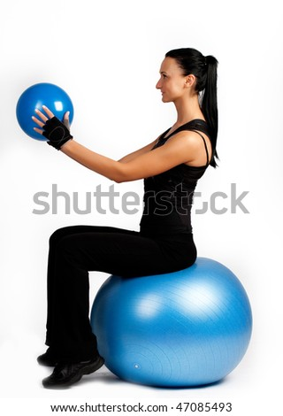 Picture of girl  during exercise with ball - stock photo
