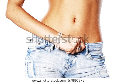 picture of girl over white background - stock photo