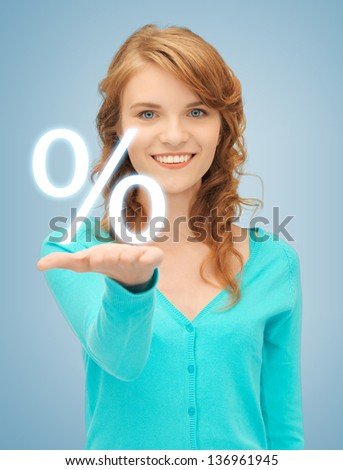 picture of girl showing sign of percent in her hand - stock photo