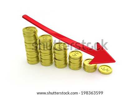 picture of gold coins with a green arrow symbolizing collapse wealth - 3D model - stock photo