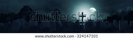 Picture of gothic horror cemetery - stock photo