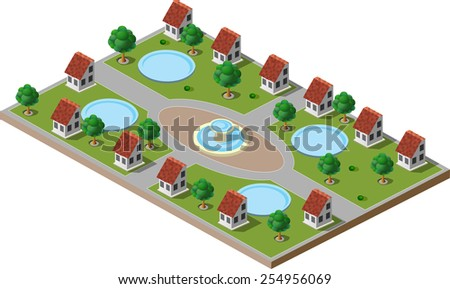 Picture of green park with trees, lawns, a fountain and houses. There is also a swimming pool in each house. - stock photo