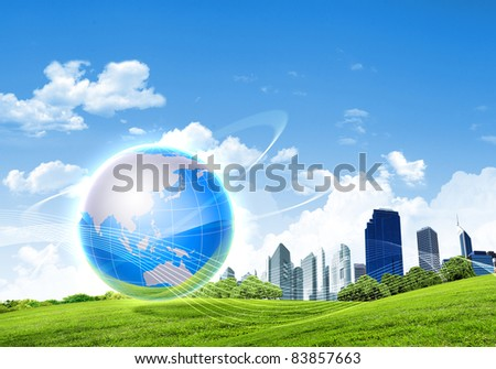 Picture of green planet as symbol of environmental concept - stock photo