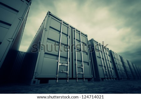 Picture of grey containers in the row. - stock photo