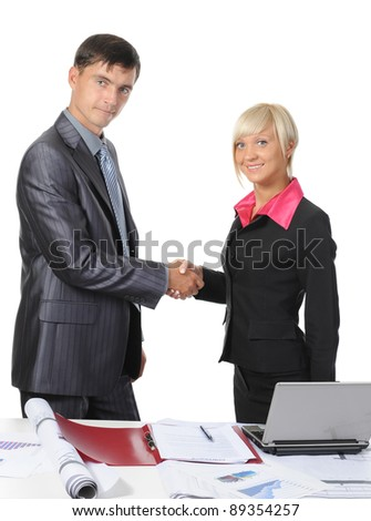 picture of handshake two business partners, when signing contract. . Isolated on white background - stock photo