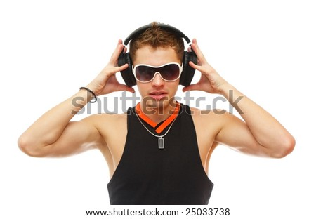 Picture of handsome DJ in sunglasses and headphones isolated on white - stock photo