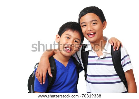 picture of happy asian boys - stock photo