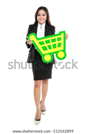 Picture of happy businesswoman holding sign of shopping chart isolated on white background - stock photo