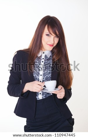 picture of happy businesswoman with cup of coffee - stock photo