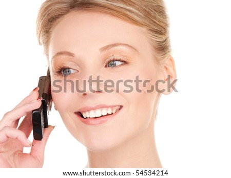 picture of happy businesswoman with phone over white