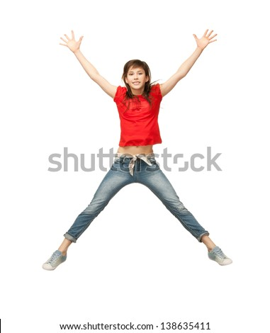 picture of happy girl jumping in the air