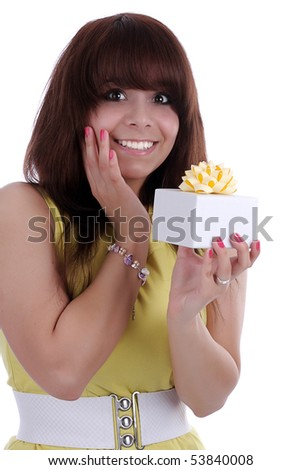 picture of happy  girl with gift box