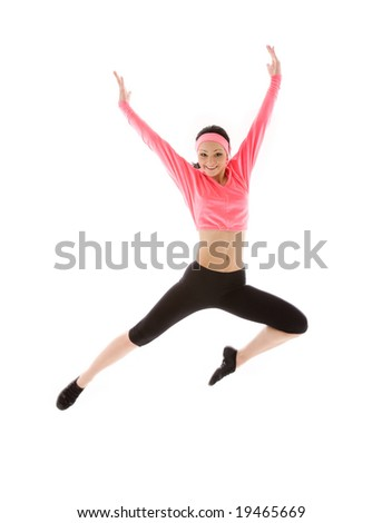 picture of happy jumping girl over white